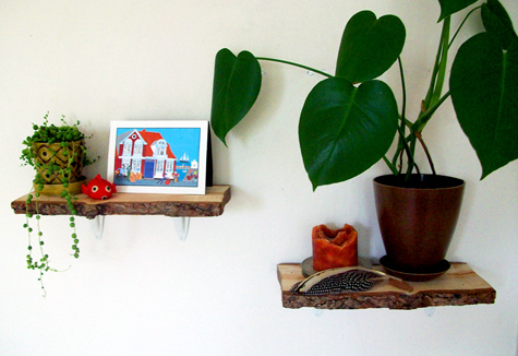 diy-rustic-log-shelves
