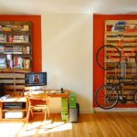 Pallet shipping for books storage and bike