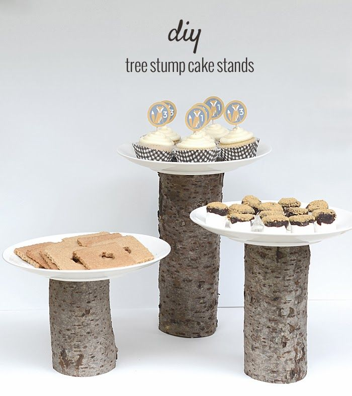 diy tree stump cake stands