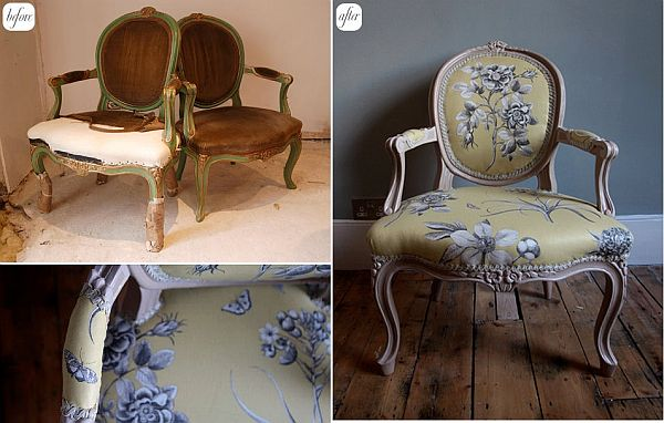 View in gallery. These antique-looking ... - 28 Before-After Reupholstered Chairs