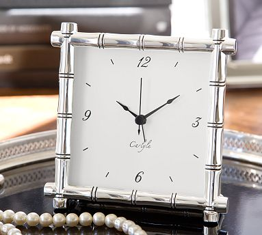 Silver Plated Bamboo Clock From Pottery Barn