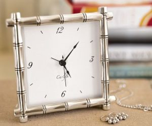 Silver-Plated Bamboo Clock from Pottery Barn