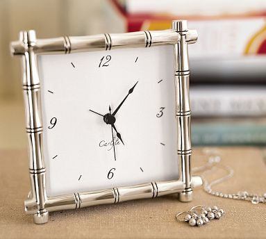 Silver Plated Bamboo Clock From Pottery Barn Ideas