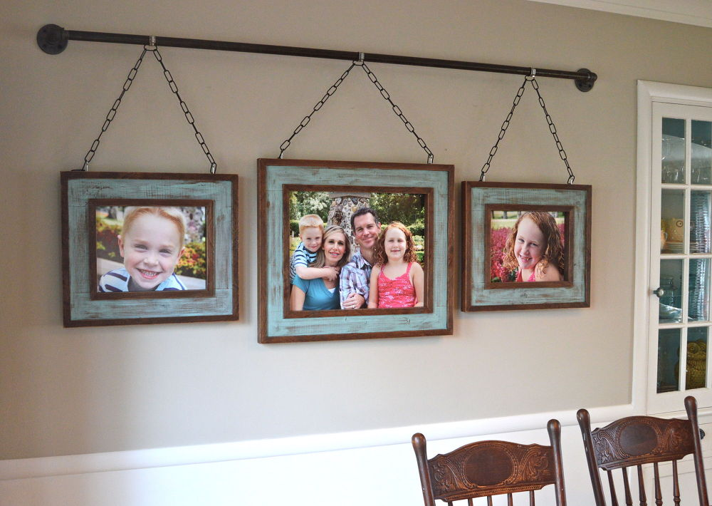 iron pipe photo display