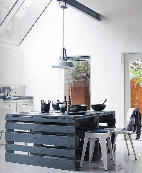 Kitchen island from shipping pallets
