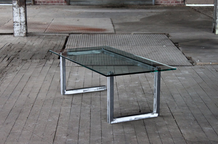 Line Coffee Glass Table From Spare Contemporary