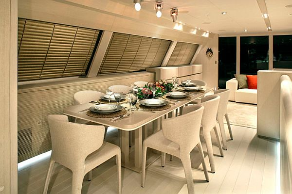 The red dragon a luxury dream yacht interior design for Table design yacht