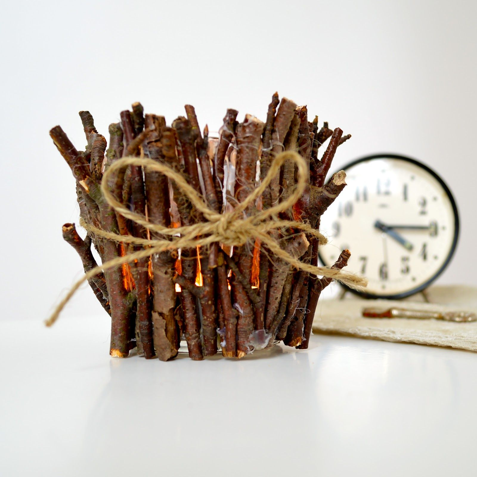 rustic twigs candle holder