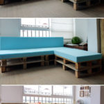 Corner sofa made from shipping pallets