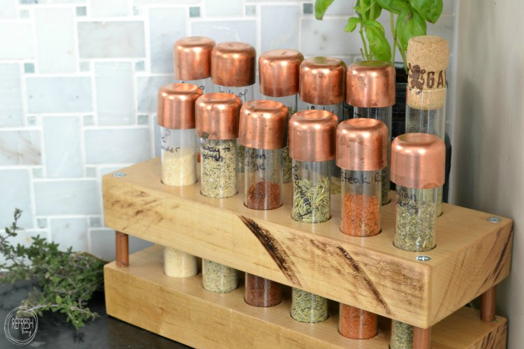 spice rack from test tubes with copper