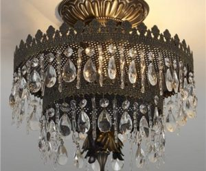 Glamorous two-tier Crystal Crown Ceiling Light
