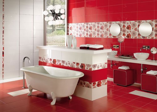 Bathroom Red red and white bathroom design