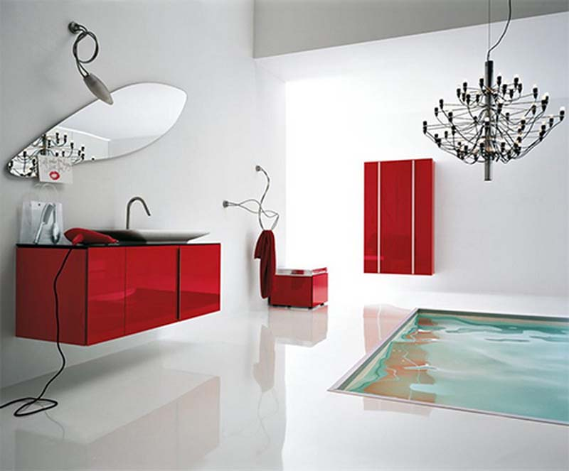 view in gallery - Red And White Bathroom