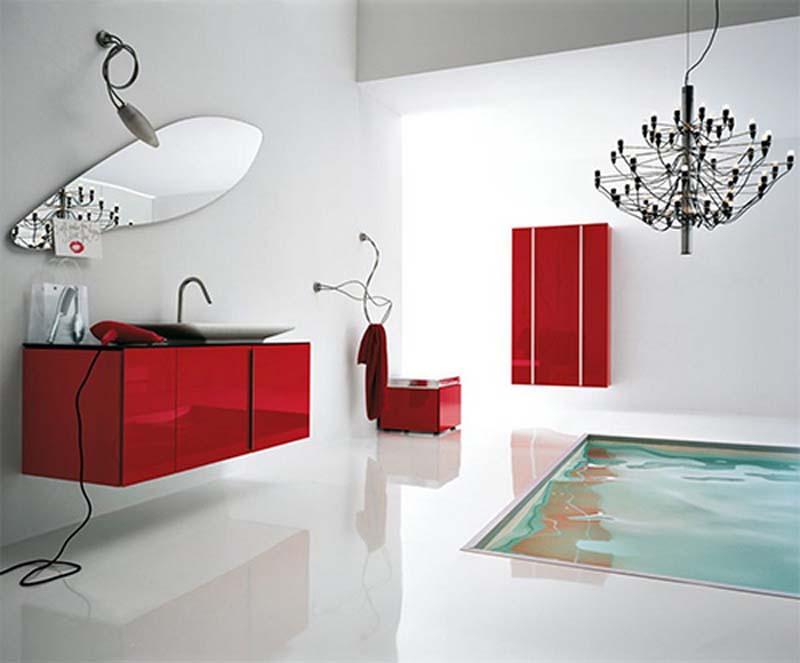 Unique Red Bathroom Concept