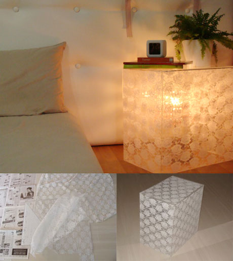 Acrylic Bedside Table and Lamp