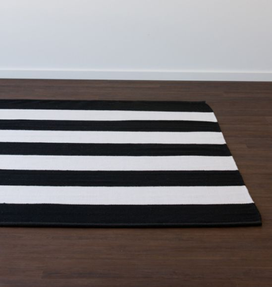 Band Stripe Black Rug