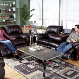 Benson Burgundy Leather Match Motion Sofa