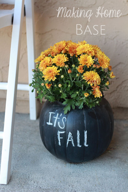 Chalk a pumpkin and create a Halloween fall