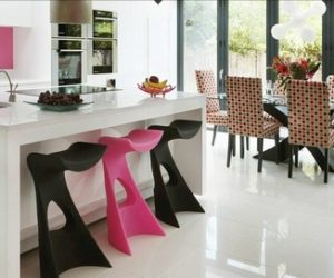 Tasteful contemporary pink kitchen design