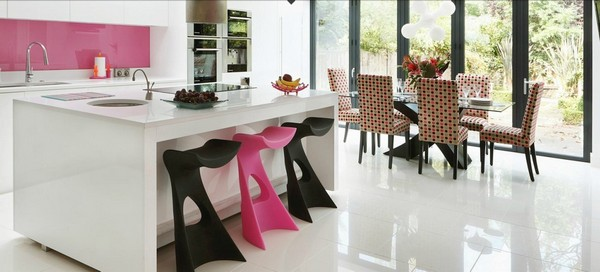 Tasteful contemporary pink kitchen design