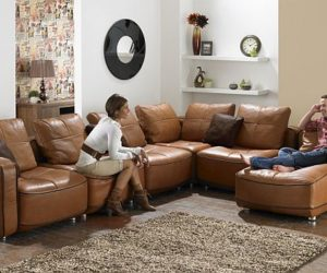 Brown Leather L Shaped Sofa