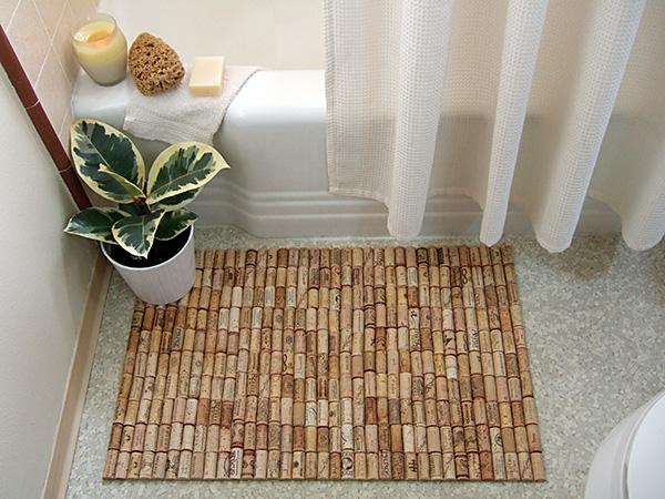Craft a bath mat from corks