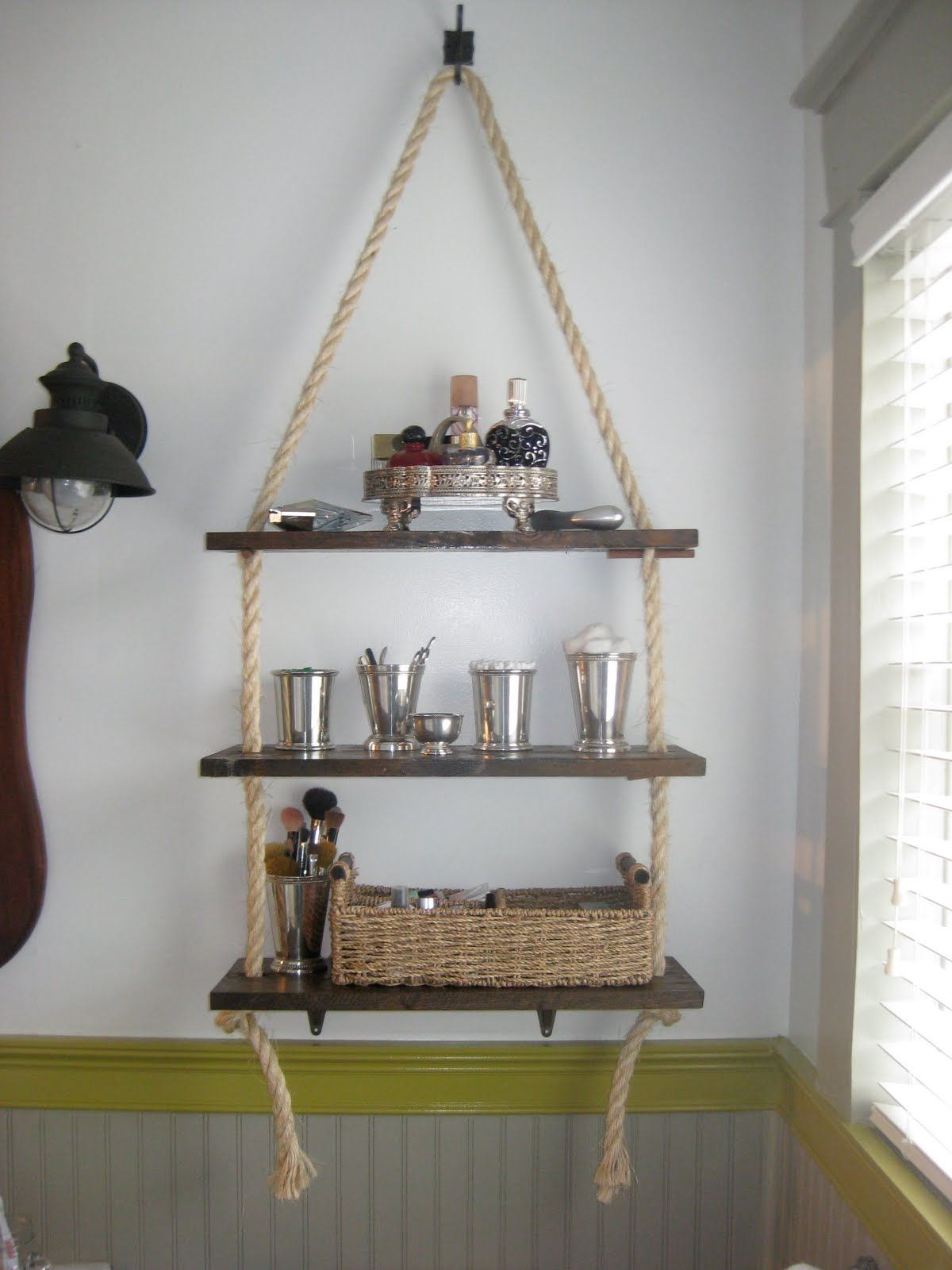 Hanging rope shelves for bathroom