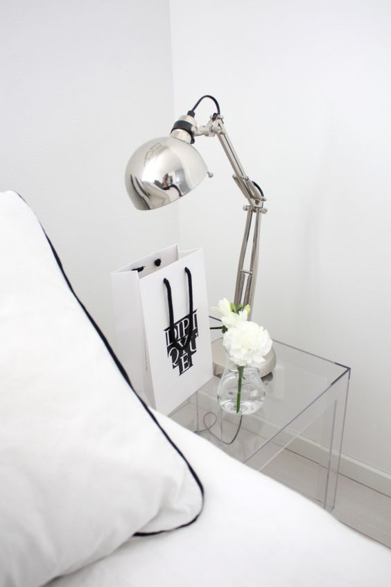 Modern bedroom with lucite nightstand