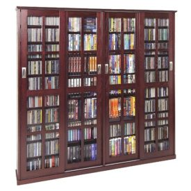 Multimedia storage cabinet with 36 adjustable shelves