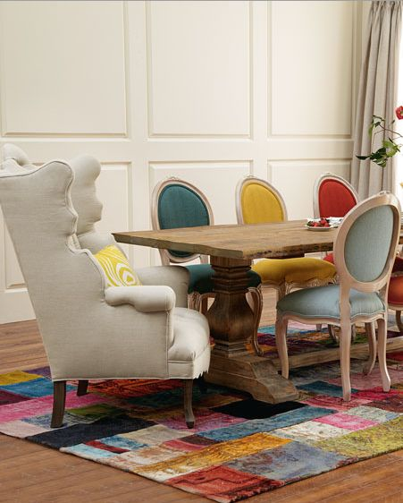Elegant and colorful dining room furniture