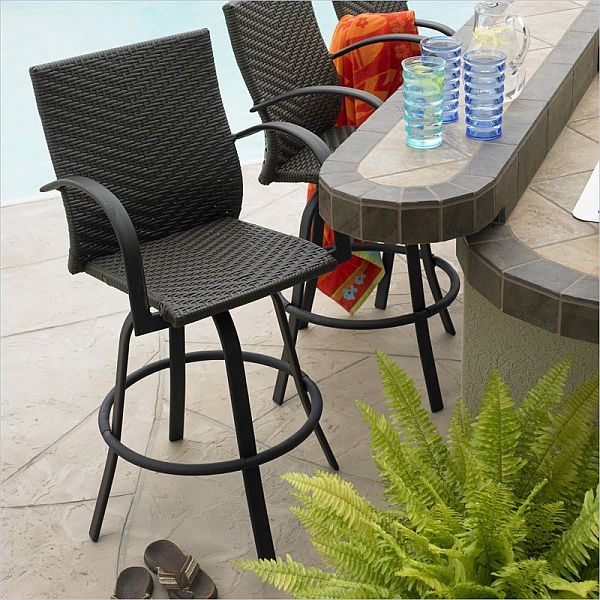 Outdoor Great Room Resin Wicker Swivel Bar stool