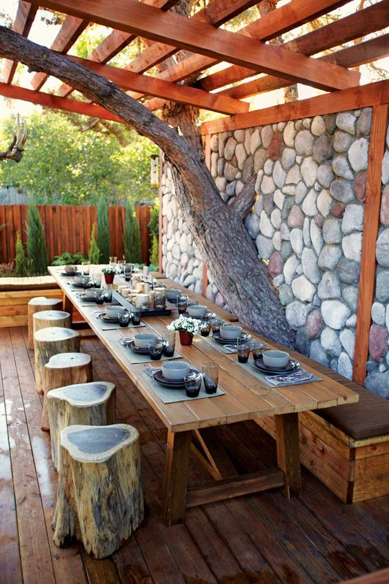 Outdoor dining area for party