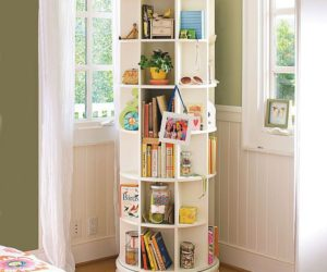 Space-saving revolving bookcase