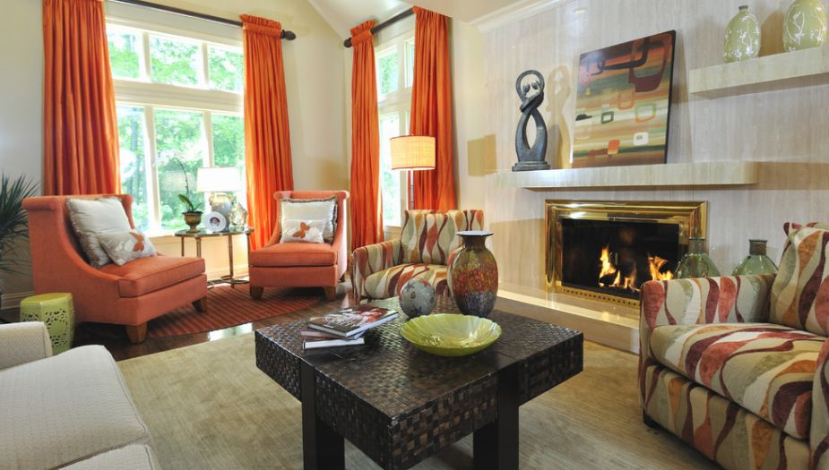 Vibrant Orange Curtains For Living Room