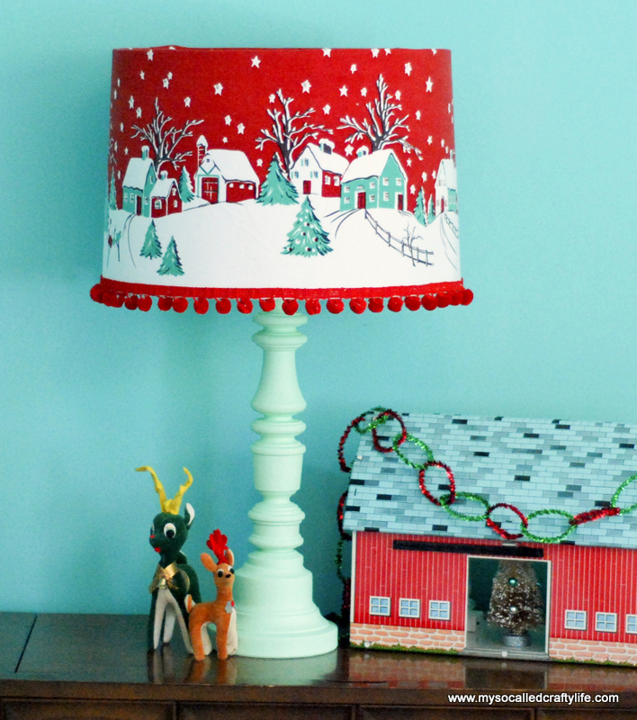 Vintage christmas inspired lampshade