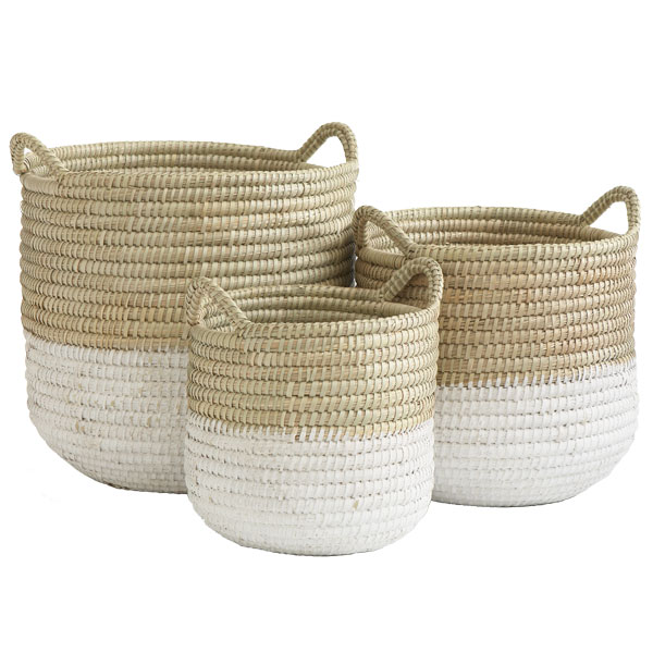 White Dipped Barrel Baskets