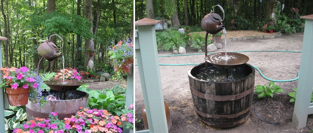 Wine Barrel Garden Fountain Design