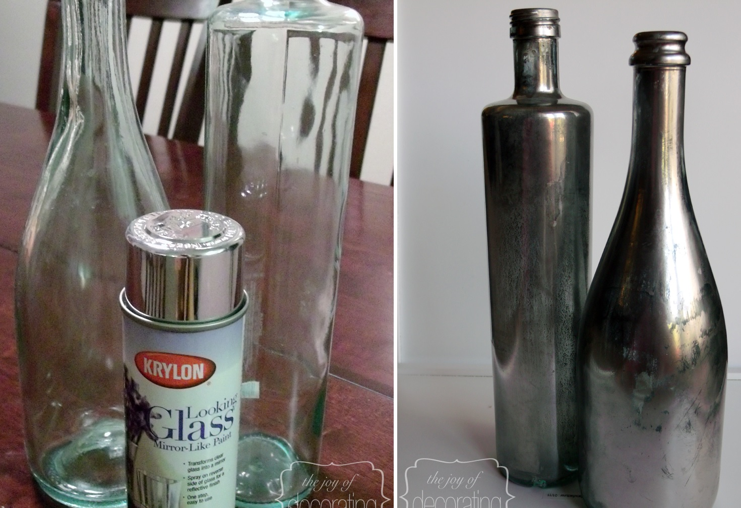 Wine bottles mercury glass