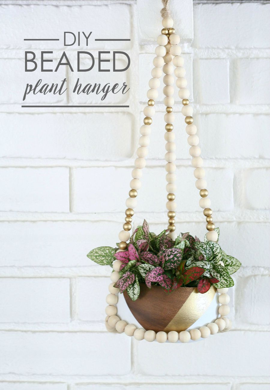 Wood beads planter hanger