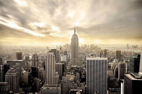 NY yellow sky