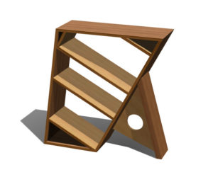 Three Shelf Wooden Bookcase