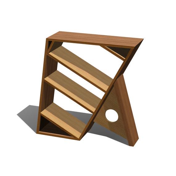 Three shelf wooden bookcase for Post modern bookshelf