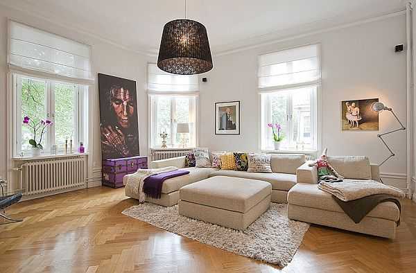 Interesting flat in stockholm combining a multitude of styles for Interior designs for flats