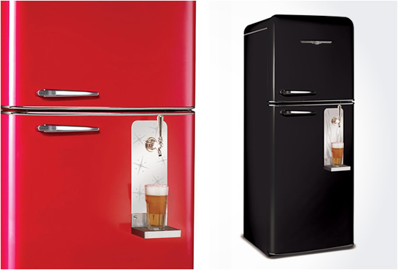 A Refrigerator With A Built In Draft Beer System