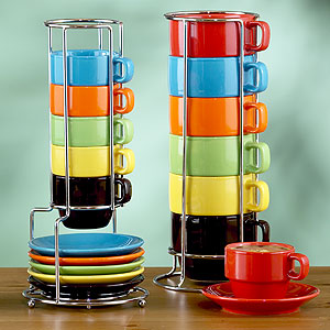 Multicolor Stacking Mugs Or Espresso Cups Sets Of 6 Idea