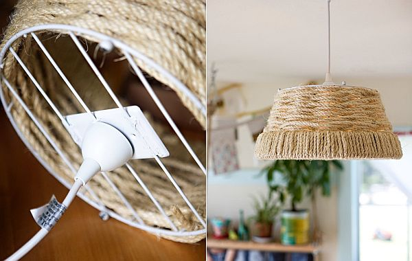 diy woven rope pendant lamp for a country look - Diy Hanging Lamp