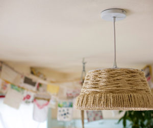 DIY Woven Rope Pendant Lamp For a Country Look