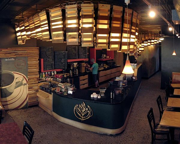 Double overhead unusual coffee shop by sarup for Coffee shop interior design ideas