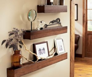 Space-saving rustic wood ledge