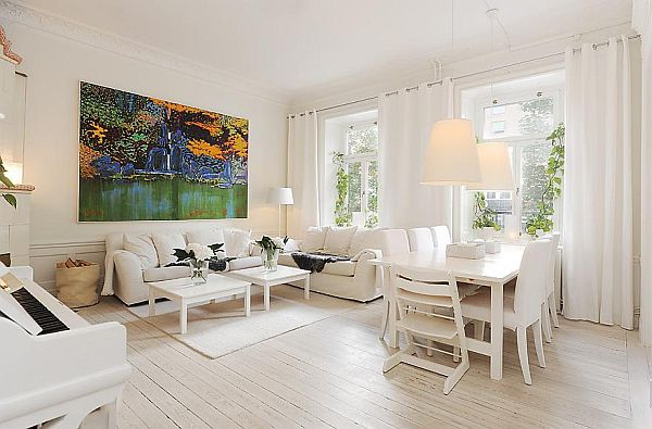 . Modern white apartment in a historic building
